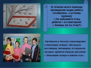 Заучивали и читали стихотворения о зимующих птицах; обсуждали пословицы, пог
