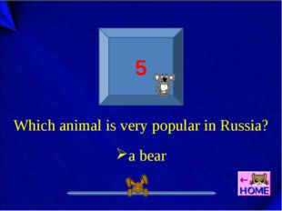 5 Which animal is very popular in Russia? a bear