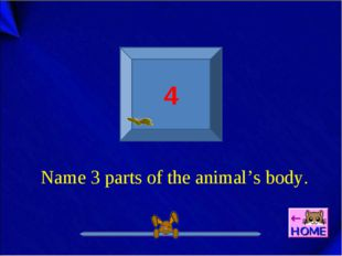4 Name 3 parts of the animal's body.
