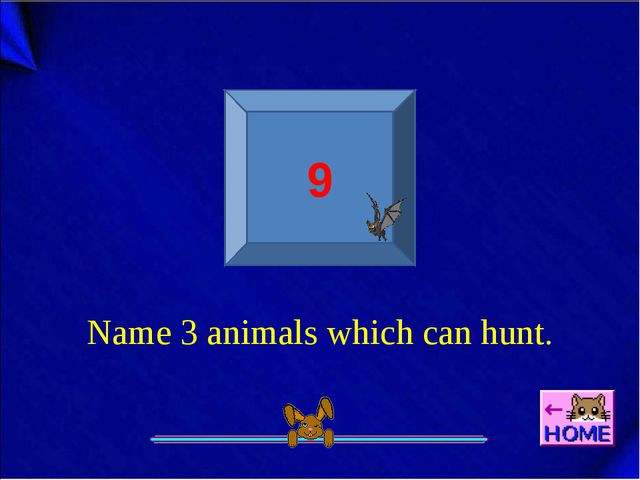 9 Name 3 animals which can hunt.