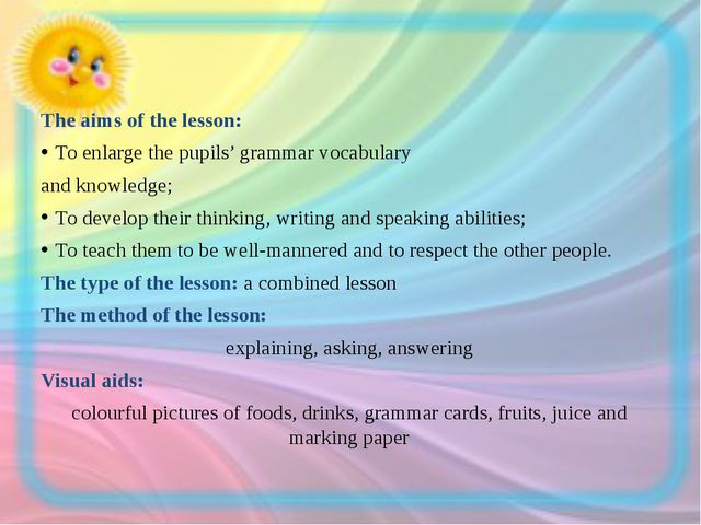 The aims of the lesson: To enlarge the pupils' grammar vocabulary and knowled...