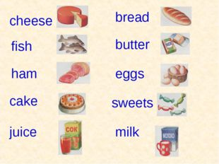 milk fish ham cake eggs bread butter juice sweets cheese