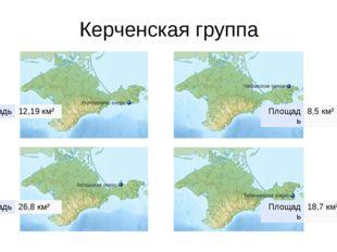 Керченская группа Площадь 12,19км² Площадь 8,5 км² Площадь 26,8 км² Площадь 1