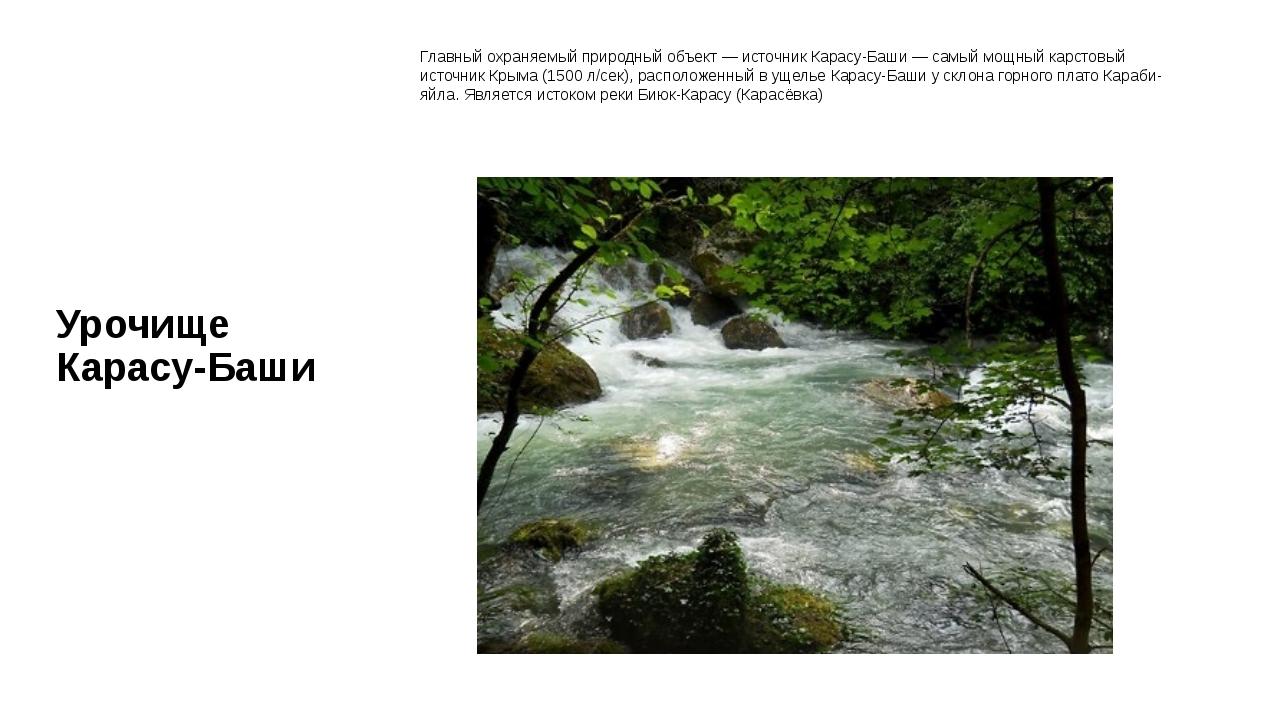 Урочище Карасу-Баши Главный охраняемый природный объект — источник Карасу-Баш...