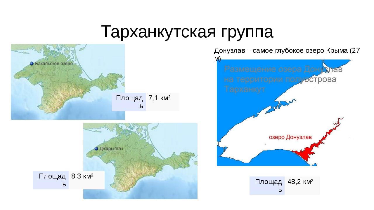 Тарханкутская группа Донузлав – самое глубокое озеро Крыма (27 м) Площадь 7,1...