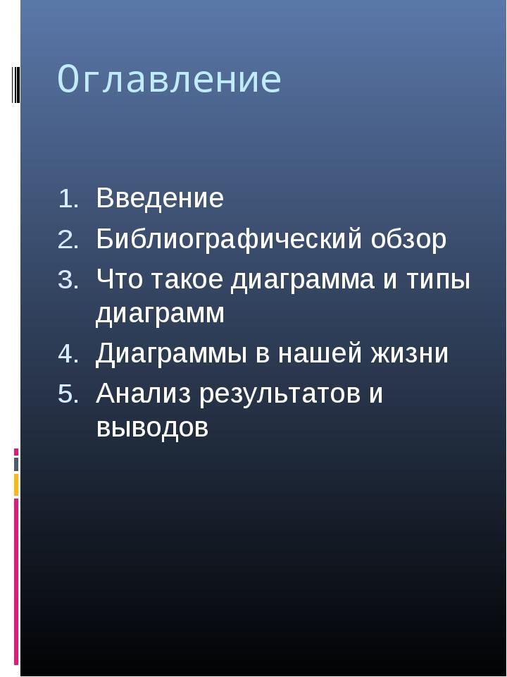 Оглавление Введение Библиографический обзор Что такое диаграмма и типы диагра...