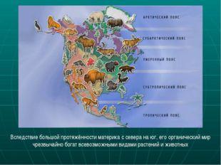 Вследствие большой протяжённости материка с севера на юг, его органический ми