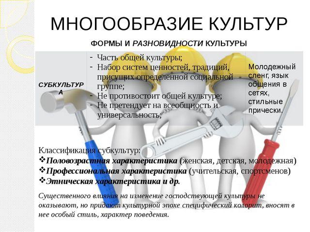 МНОГООБРАЗИЕ КУЛЬТУР Классификация субкультур: Половозрастная характеристика...