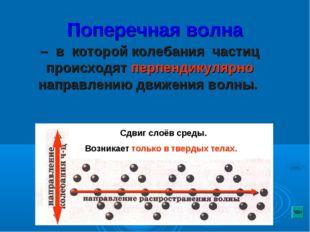 Поперечная волна – в которой колебания частиц происходят перпендикулярно напр