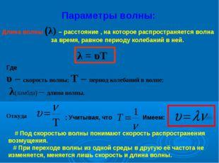 Параметры волны: Длина волны (λ) – расстояние , на которое распространяется в