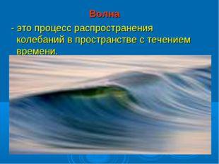 Волна - это процесс распространения колебаний в пространстве с течением време