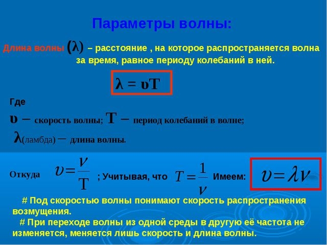Параметры волны: Длина волны (λ) – расстояние , на которое распространяется в...