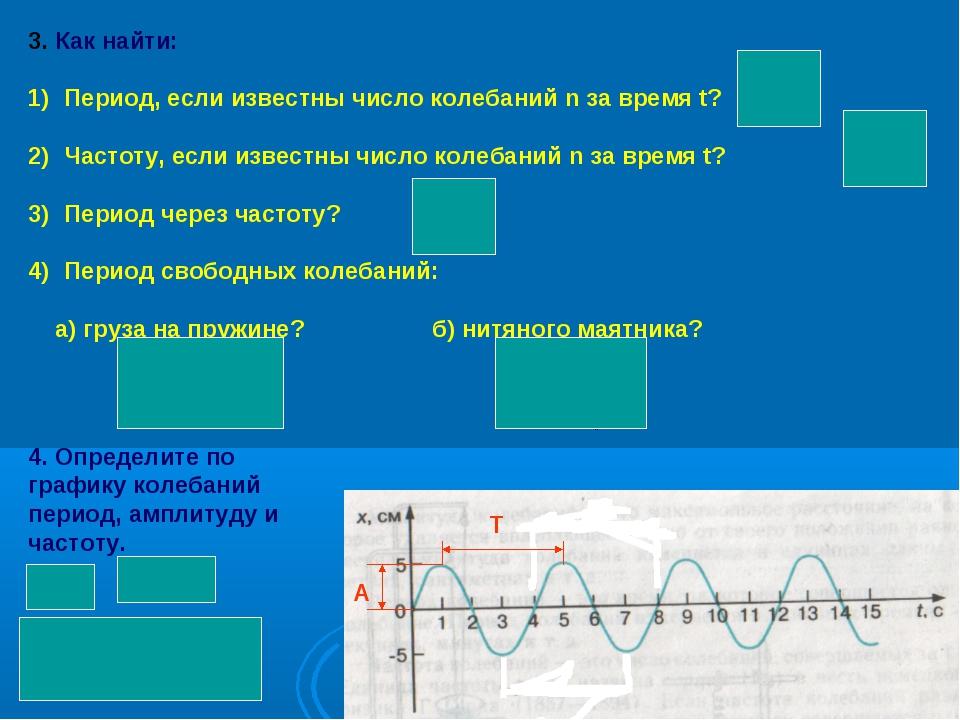 3. Как найти: Период, если известны число колебаний n за время t? Частоту, ес...