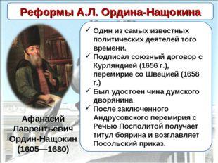 Афанасий Лаврентьевич Ордин-Нащокин (1605—1680) Один из самых известных полит