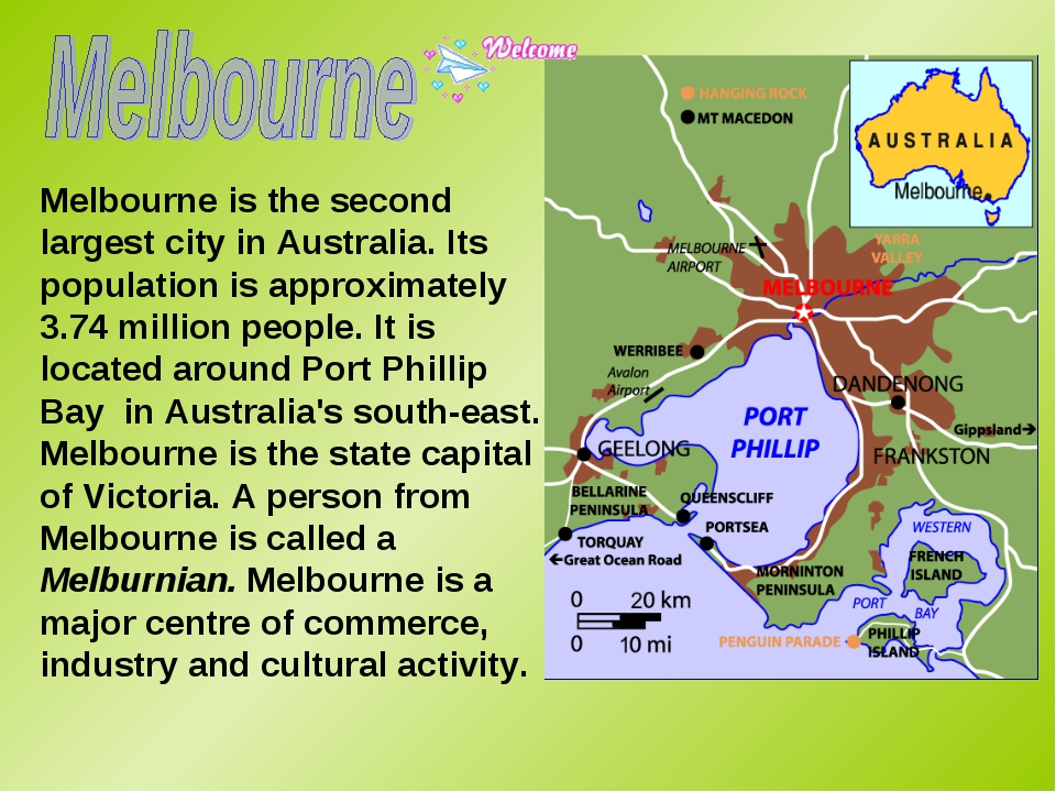 Melbourne is the second largest city in Australia. Its population is approxim...