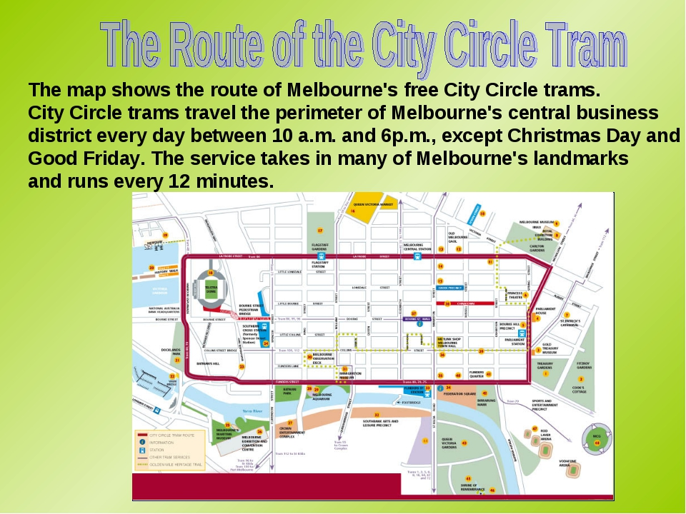The map shows the route of Melbourne's free City Circle trams. City Circle tr...