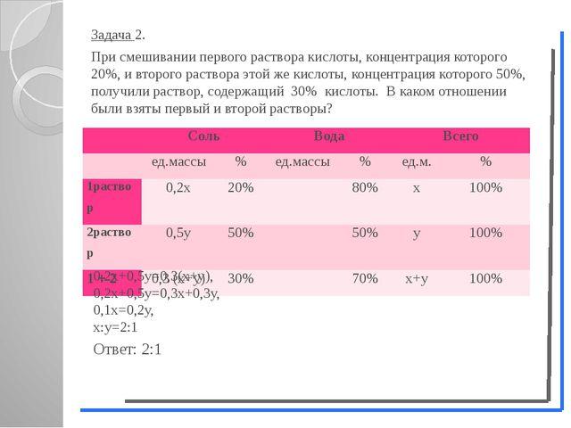 Задача 2. При смешивании первого раствора кислоты, концентрация которого 20%,...