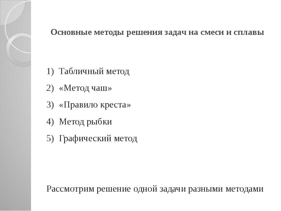 Основные методы решения задач на смеси и сплавы 1) Табличный метод 2) «Метод...