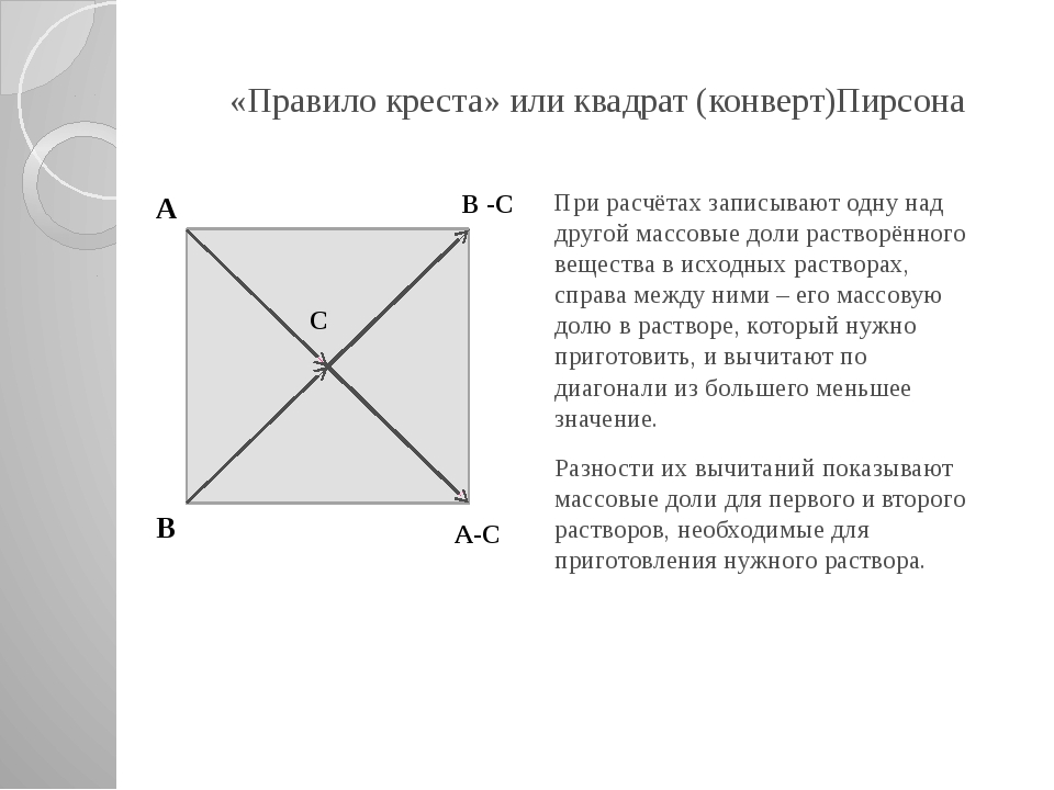 «Правило креста» или квадрат (конверт)Пирсона При расчётах записывают одну на...