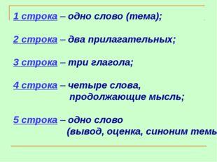 1 строка – одно слово (тема); 2 строка – два прилагательных; 3 строка – три г