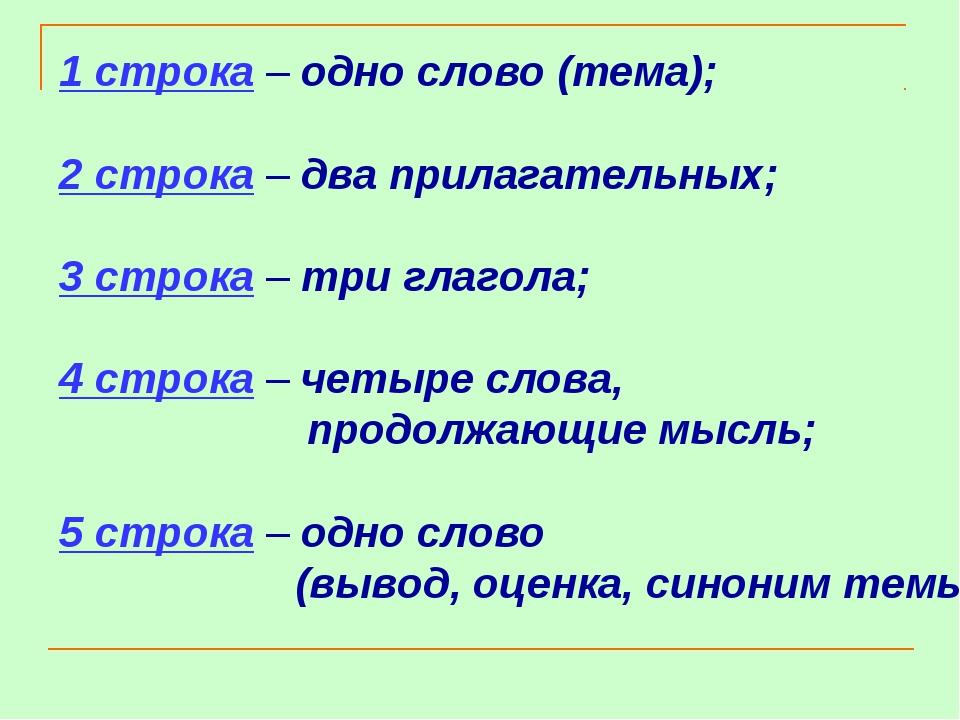 1 строка – одно слово (тема); 2 строка – два прилагательных; 3 строка – три г...