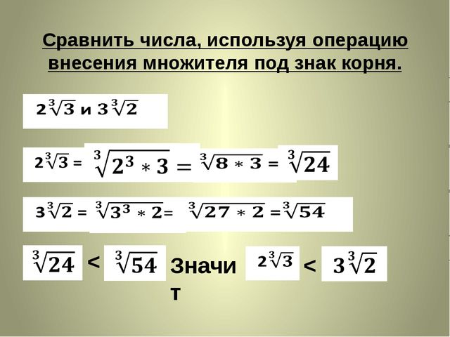 Сравнить числа, используя операцию внесения множителя под знак корня. < Значи...