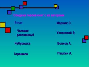 Соедини героев книг с их авторами Балда Пушкин А. Маршак С. Успенский Э. Волк