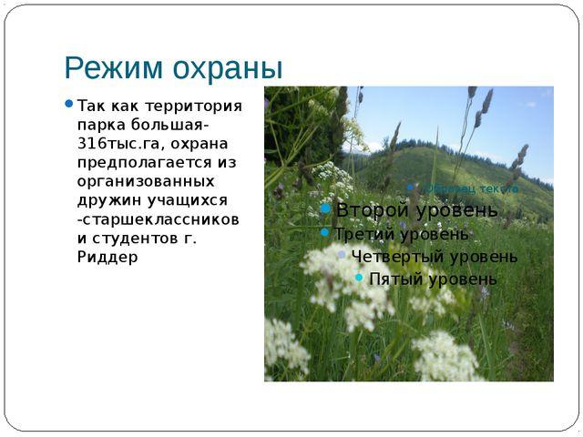 Режим охраны Так как территория парка большая- 316тыс.га, охрана предполагает...
