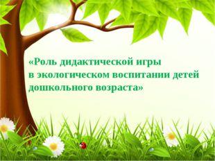 «Роль дидактической игры в экологическом воспитании детей дошкольного возраста»