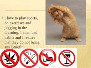 I love to play sports, do exercises and jogging in the morning. I alien bad