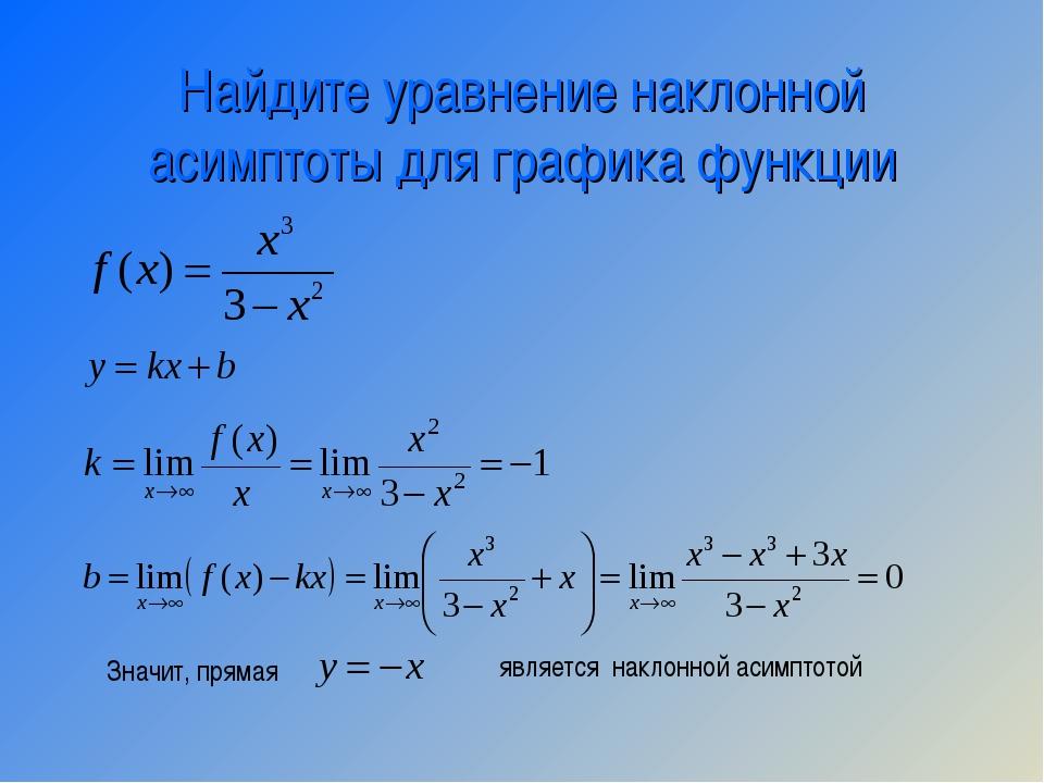 Найдите уравнение наклонной асимптоты для графика функции