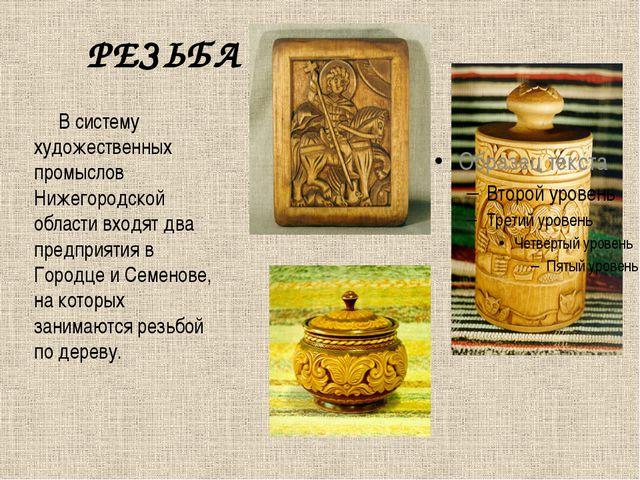 РЕЗЬБА В систему художественных промыслов Нижегородской области входят два пр...