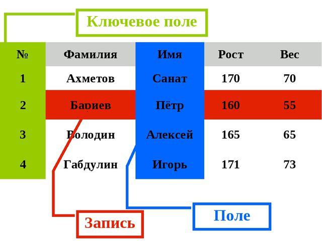 Запись Поле Ключевое поле №ФамилияИмяРостВес 1АхметовСанат17070 2Бар...