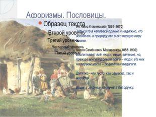 Афоризмы. Пословицы. Ян Амос Коменский (1592-1670) Только то в человеке прочн