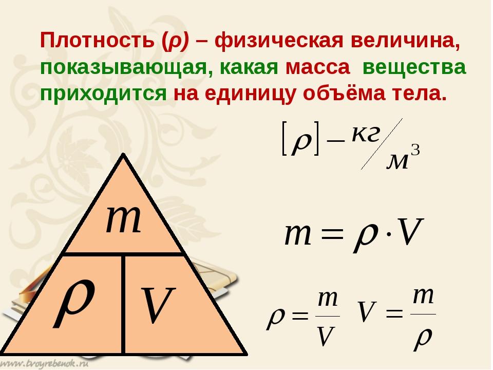 Плотность (ρ) – физическая величина, показывающая, какая масса вещества прих...