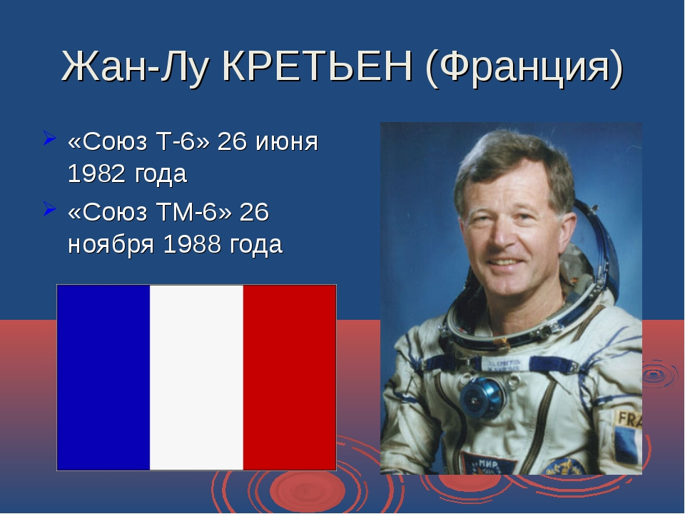 Жан-Лу КРЕТЬЕН (Франция) «Союз Т-6» 26 июня 1982 года «Союз ТМ-6» 26 ноября 1...