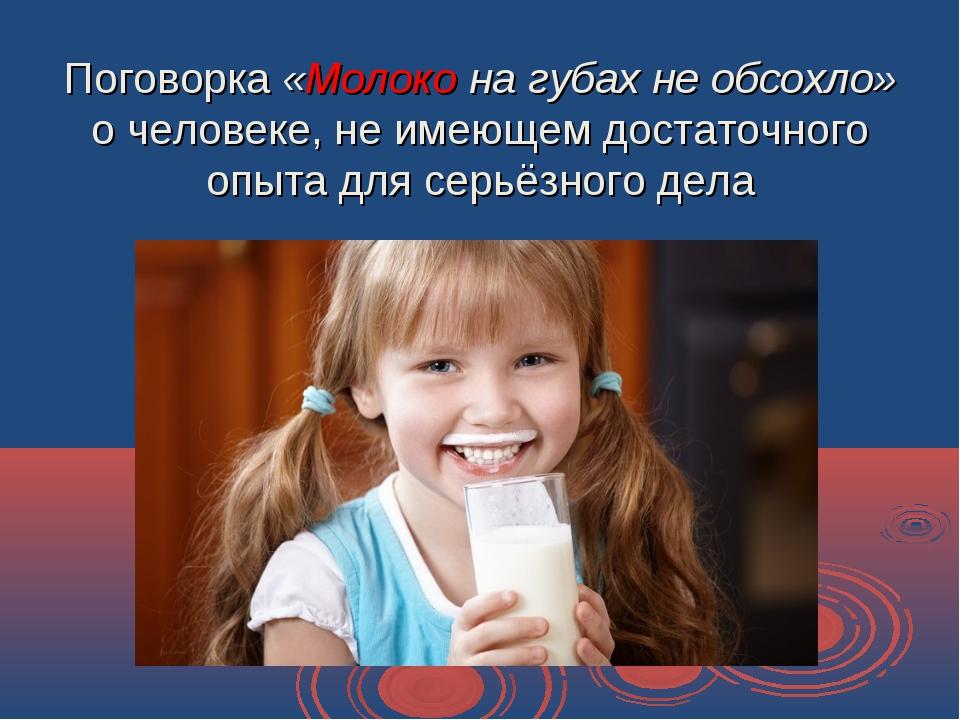 Поговорка «Молоко на губах не обсохло» о человеке, не имеющем достаточного оп...