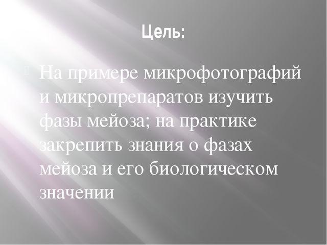 Цель: На примере микрофотографий и микропрепаратов изучить фазы мейоза; на пр...