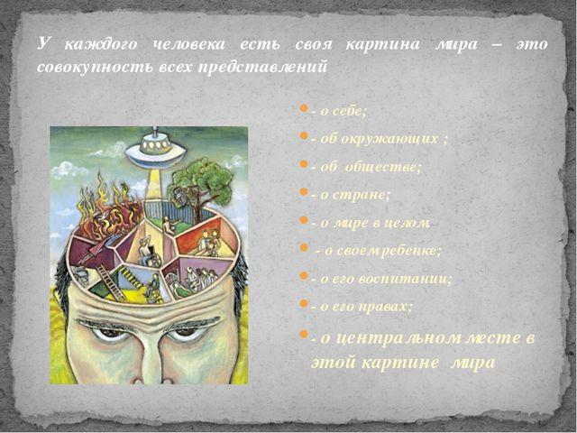 У каждого человека есть своя картина мира – это совокупность всех представлен...
