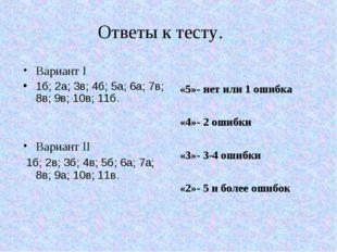 Ответы к тесту. Вариант I 1б; 2а; 3в; 4б; 5а; 6а; 7в; 8в; 9в; 10в; 11б. Вариа