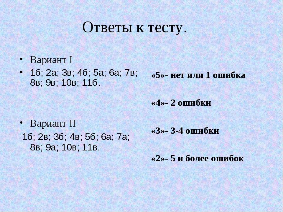 Ответы к тесту. Вариант I 1б; 2а; 3в; 4б; 5а; 6а; 7в; 8в; 9в; 10в; 11б. Вариа...
