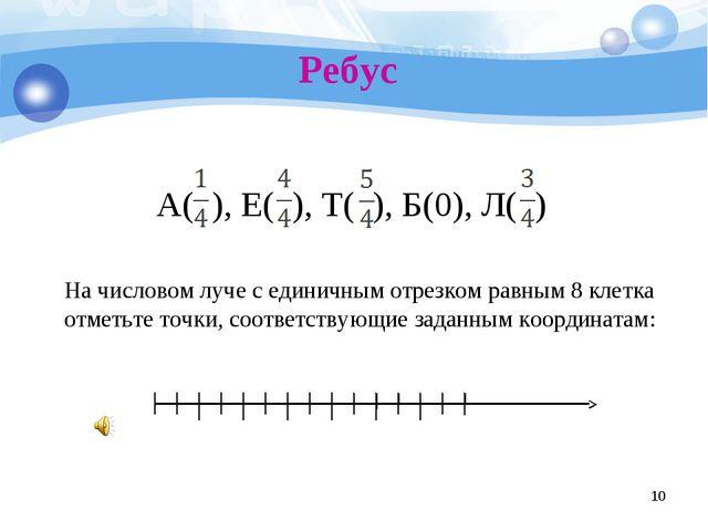 Ребус * А( ), Е( ), Т( ), Б(0), Л( ) На числовом луче с единичным отрезком ра...