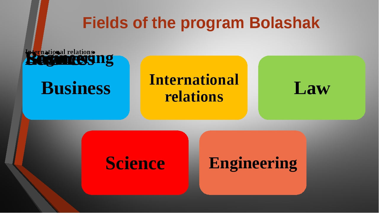 Fields of the program Bolashak