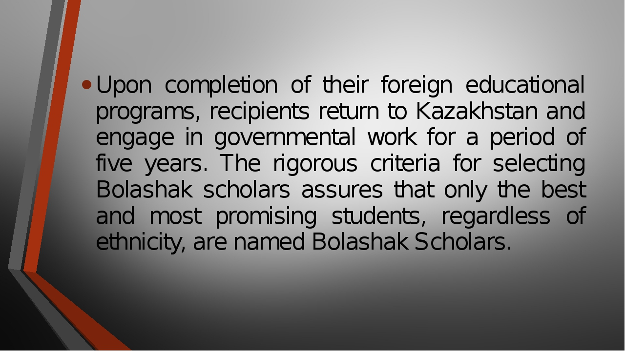 Upon completion of their foreign educational programs, recipients return to K...