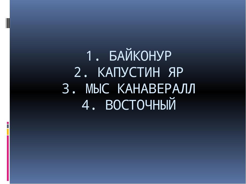 1. БАЙКОНУР 2. КАПУСТИН ЯР 3. МЫС КАНАВЕРАЛЛ 4. ВОСТОЧНЫЙ