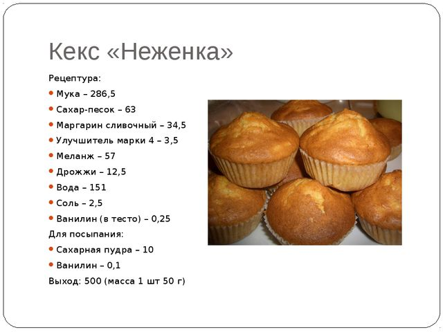 Кекс «Неженка» Рецептура: Мука – 286,5 Сахар-песок – 63 Маргарин сливочный –...