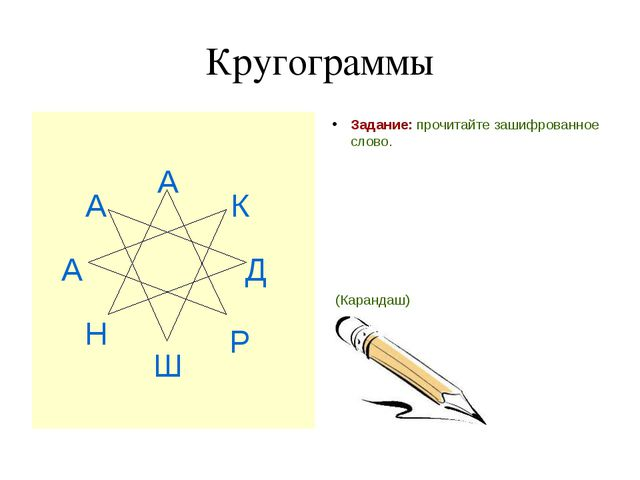 Кругограммы Задание: прочитайте зашифрованное слово. (Карандаш) А Н А А Ш Р Д К