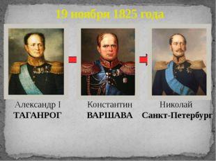 19 ноября 1825 года Александр I ТАГАНРОГ Константин ВАРШАВА Николай Санкт-Пе