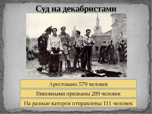 Суд на декабристами Арестовано 579 человек Виновными признаны 289 человек На...