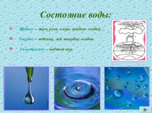 Состояние воды: Жидкое – моря, реки, озера, жидкие осадки… Твердое – ледники,